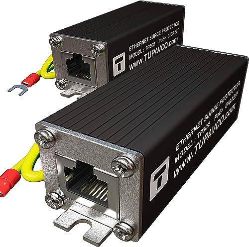 Ethernet Surge Protector 2 Pack PoE Gigabit – Gas Discharge Tube for Full Protection -Mounting Flange- RJ45 Lightning Suppressor- LAN Network CAT5 CAT6 Thunder Arrestor GbE 1000 Mbps- Tupavco TP302