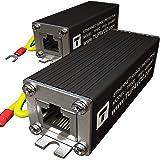 Ethernet Surge Protector (2 Pack) PoE+ Gigabit - Gas Discharge Tube for Full Protection -Mounting Flange- RJ45 Lightning Supp