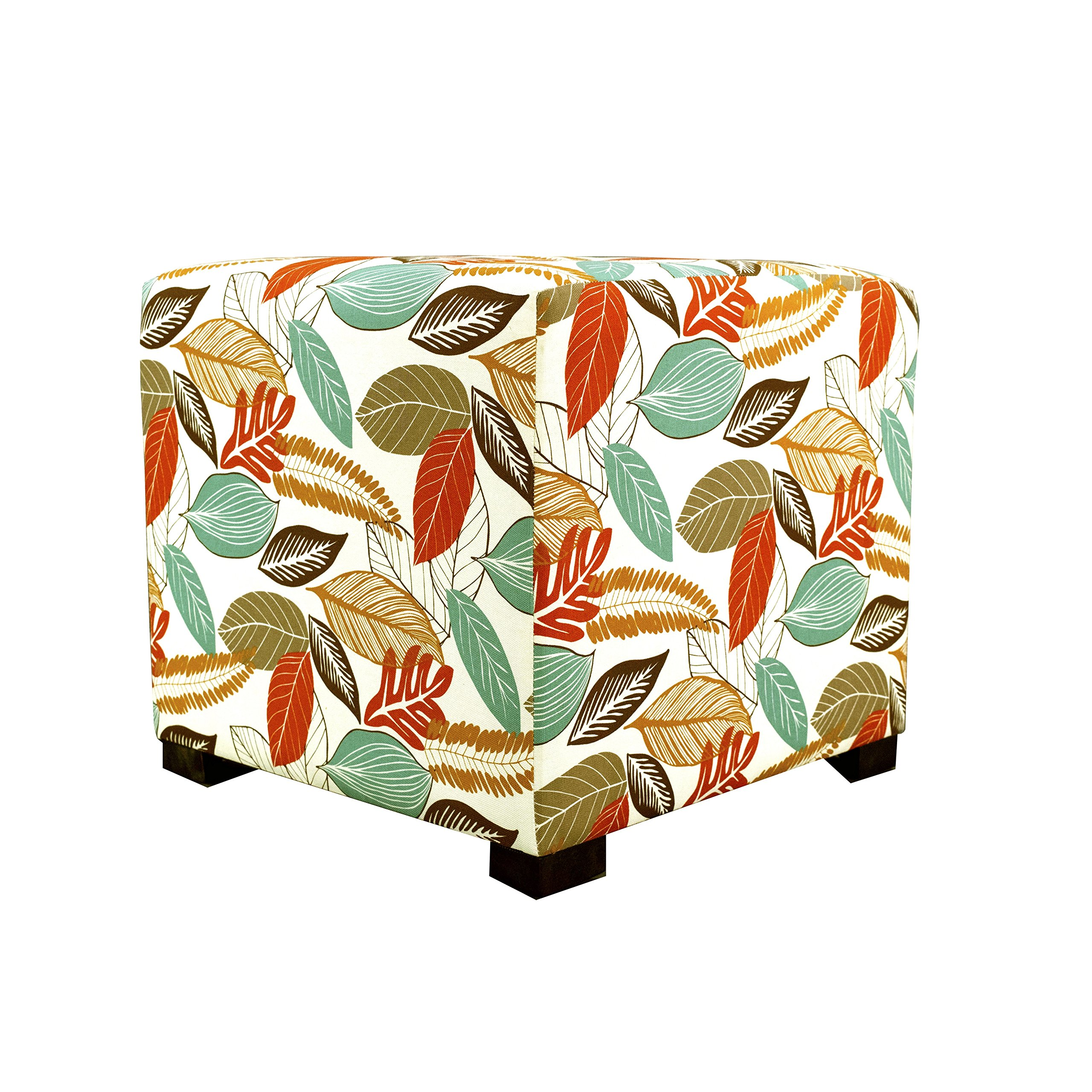 MJL Furniture Designs Merton Collection, Fabric Upholstered Modern Cube Foot Rest Ottoman with 4 Button Tufting, Floral Foliage Series, Driftwood by MJL Furniture Designs (Image #5)