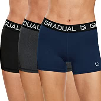 """G Gradual Women's Spandex Compression Volleyball Shorts 3"""" /7"""" Workout Pro Shorts for Women"""
