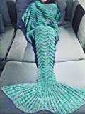 "iEFiEL Adult Knitted Mermaid Tail Blanket Handmade Soft Living Room Sleeping Bag Green(80.0""*34.6) One Size"
