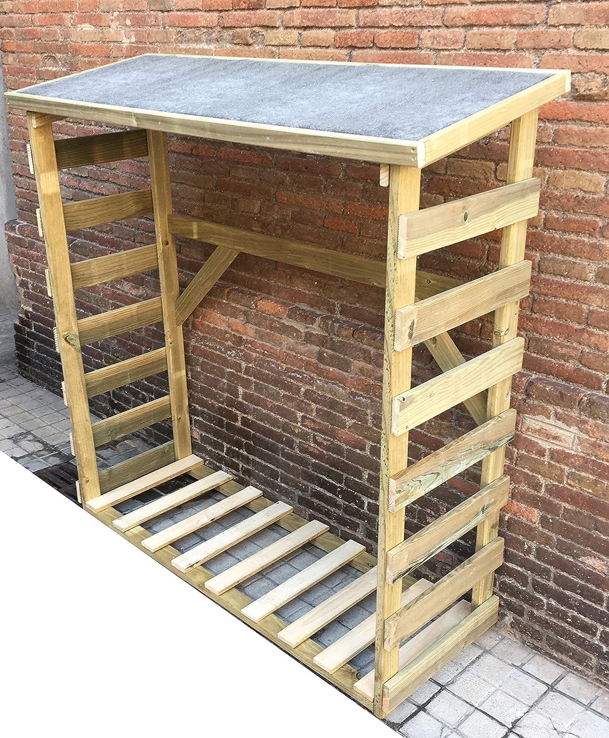 AD servicios Armario leñero de madera tratada de 150 x 150 x 50 cm