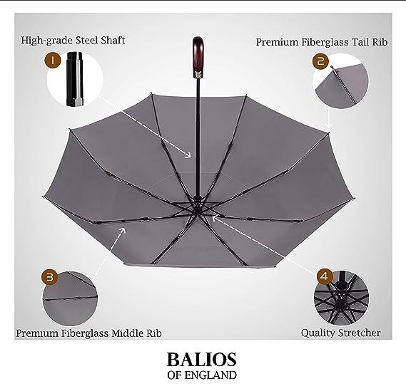 Paraguas de viaje Balios® (diseñado en Reino Unido) mango de madera, apertura y cierre automático, resistente al viento, para hombre y mujer, METALLIC GREY ...
