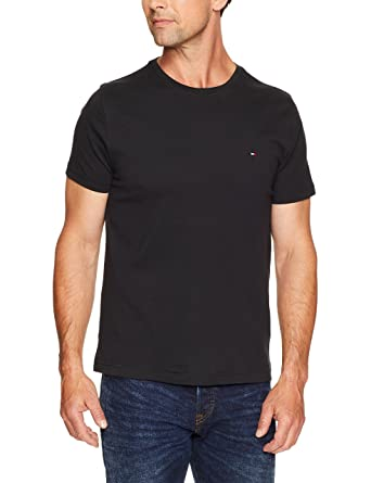 af42b1e48 TOMMY HILFIGER Men's May Crew Neck Short Sleeve T-Shirt, Black, X-