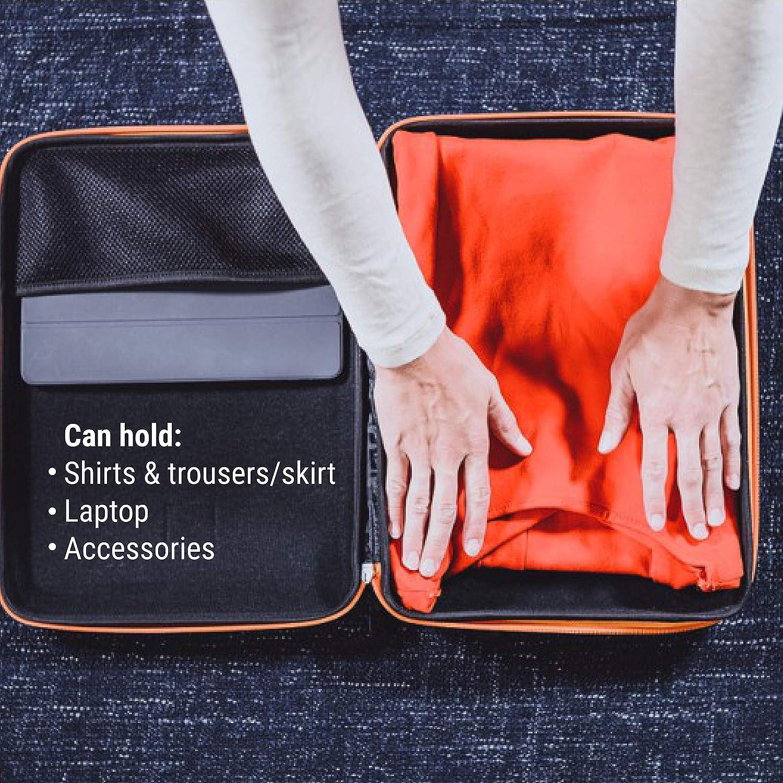 IAMRUNBOX Garment Bag - Funda Porta Camisas, Bolso de Viaje Organizador de Ropa + Plegador Gratis - Doublepack (Naranja)
