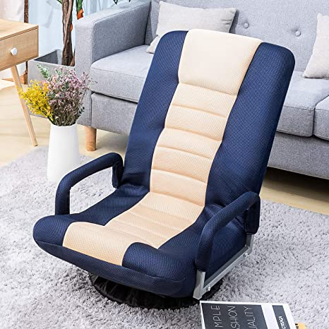 Pleasant Floor Gaming Chair Soft Floor Rocker 7 Position Swivel Chair Adjustable For Kids Teens Adults Playing Video Games Reading And Relaxing Blue Evergreenethics Interior Chair Design Evergreenethicsorg