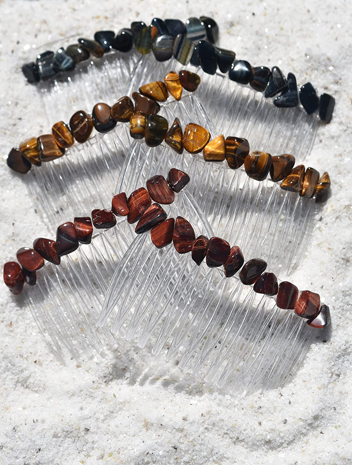 Tiger's Eye Stone Hair Combs 3 Sets of 2 for Total of 6 Includes: Red Tiger's Eye, Gold Tiger's Eye and Blue Tiger's Eye