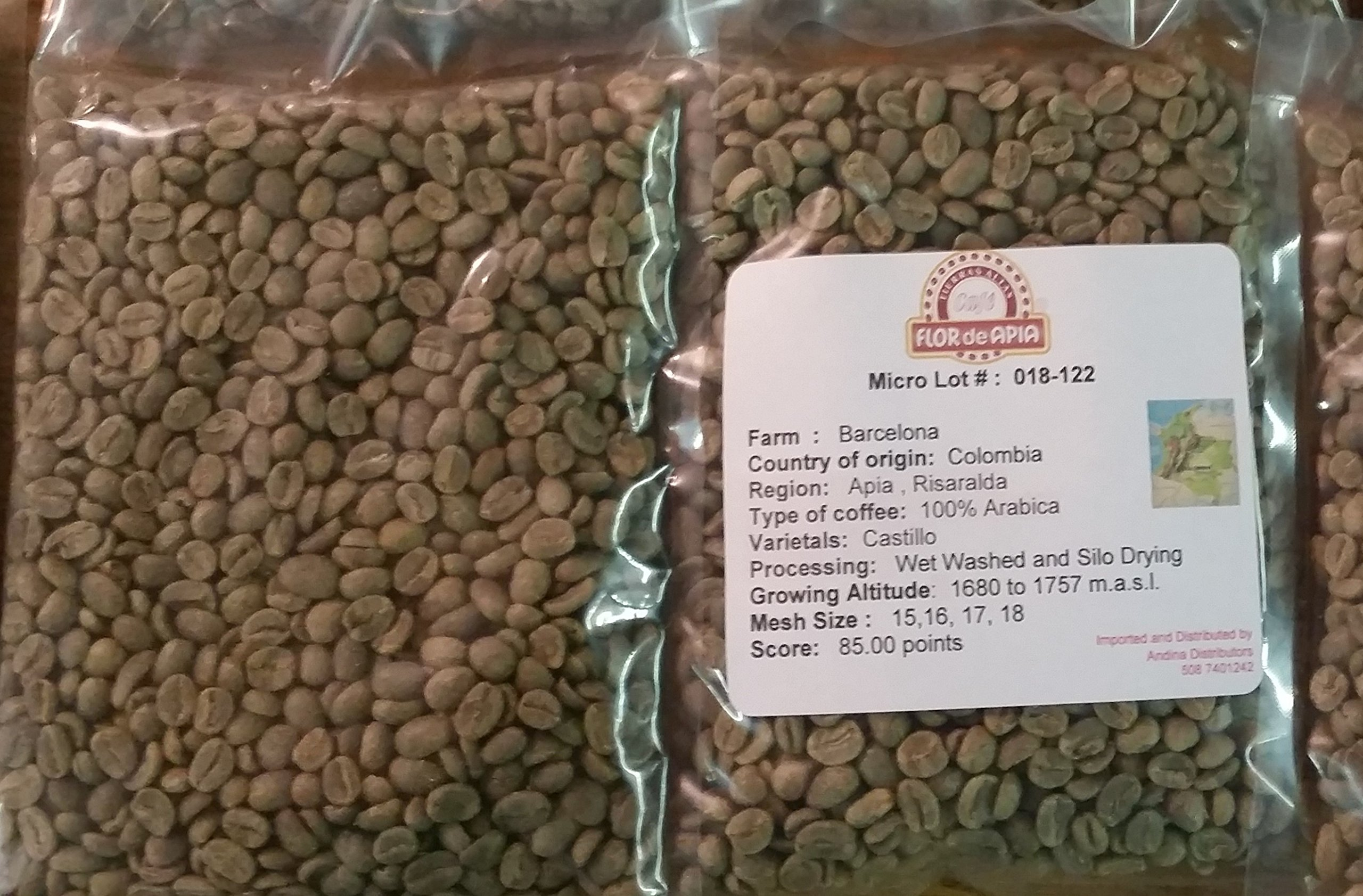 Colombian Green Unroasted Coffee Beans 3- Pounds Single Origin Farm - Barcelona by Flor de Apia
