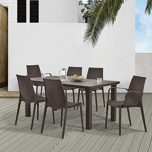 casa.pro]® Juego de muebles de jardín mesa con 6 sillas - efecto ...
