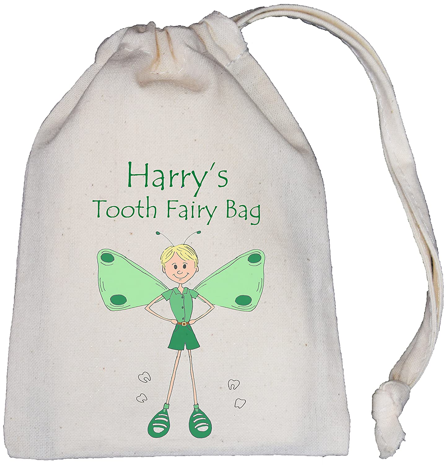 Personalised - Boy Tooth Fairy Bag (Green) - Tiny NATURAL Cotton Drawstring Cotton Bag
