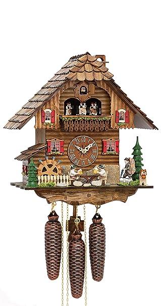 german cuckoo clock chaletstyle inch authentic black - Black Forest Cuckoo Clocks