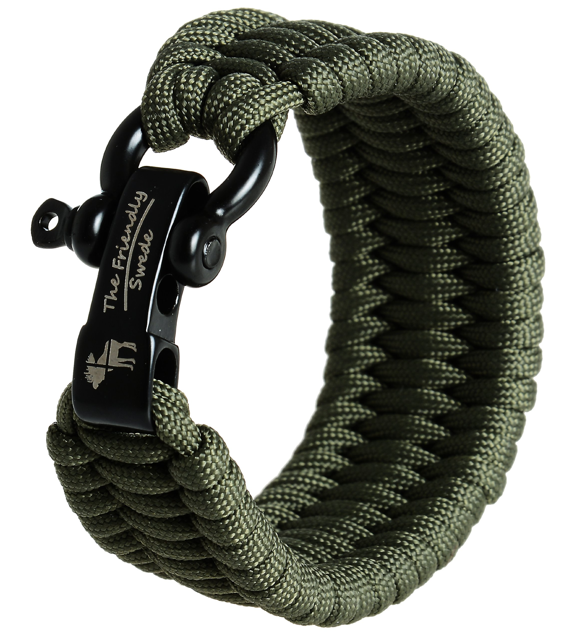 The Friendly Swede Trilobite Extra Beefy 550 lb Paracord Survival Bracelet with Stainless Steel Black Bow Shackle, Available in 3 Adjustable Sizes (Army Green, fits 8.5''-9.8'' wrists)