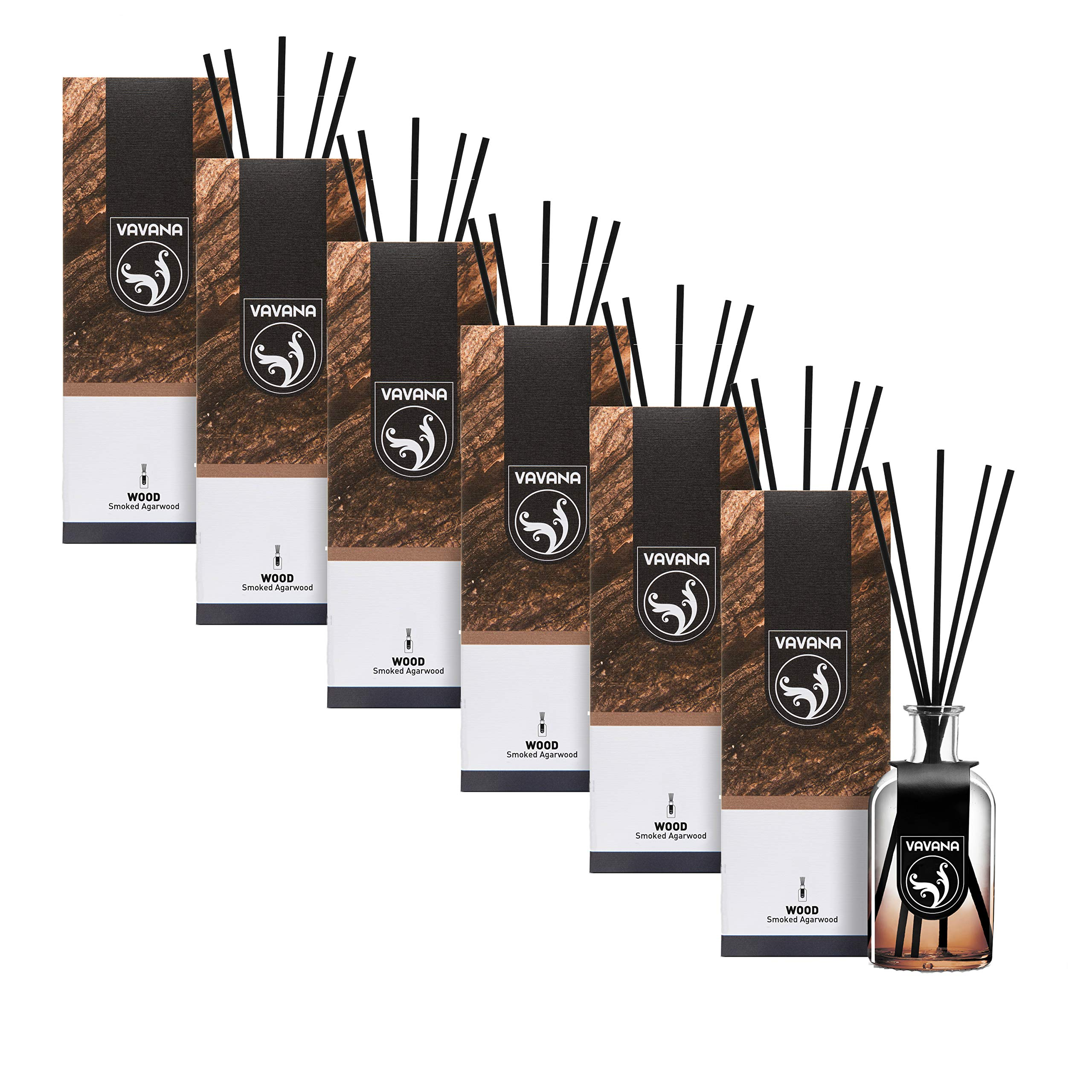 VAVANA Aromatherapy Diffuser Sticks   Reed Diffuser Set   Aromatic Home Fragrance Set   Essential Oil Diffuser Sticks, Made of Natural Scented Oils Blend   100 ML/3.4 OZ - 6 Pack (Smoked A.Wood) by vavana (Image #3)