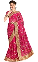 Panash Trends Women's Heavy Net With Blouse Saree (UJJ.K598_Pink Color)