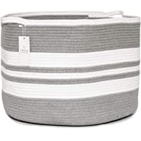 Chloe and Cotton XXXL Extra Large Woven Rope Storage Basket 15 x 21 inch Gray White Handles | Decorative Laundry Clothes…