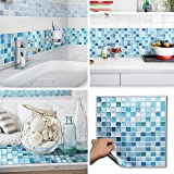 BEAUSTILE Decorative Tile Stickers Peel and Stick Backsplash Fire Retardant Tile Sheet (2pcs) (N.Blue)