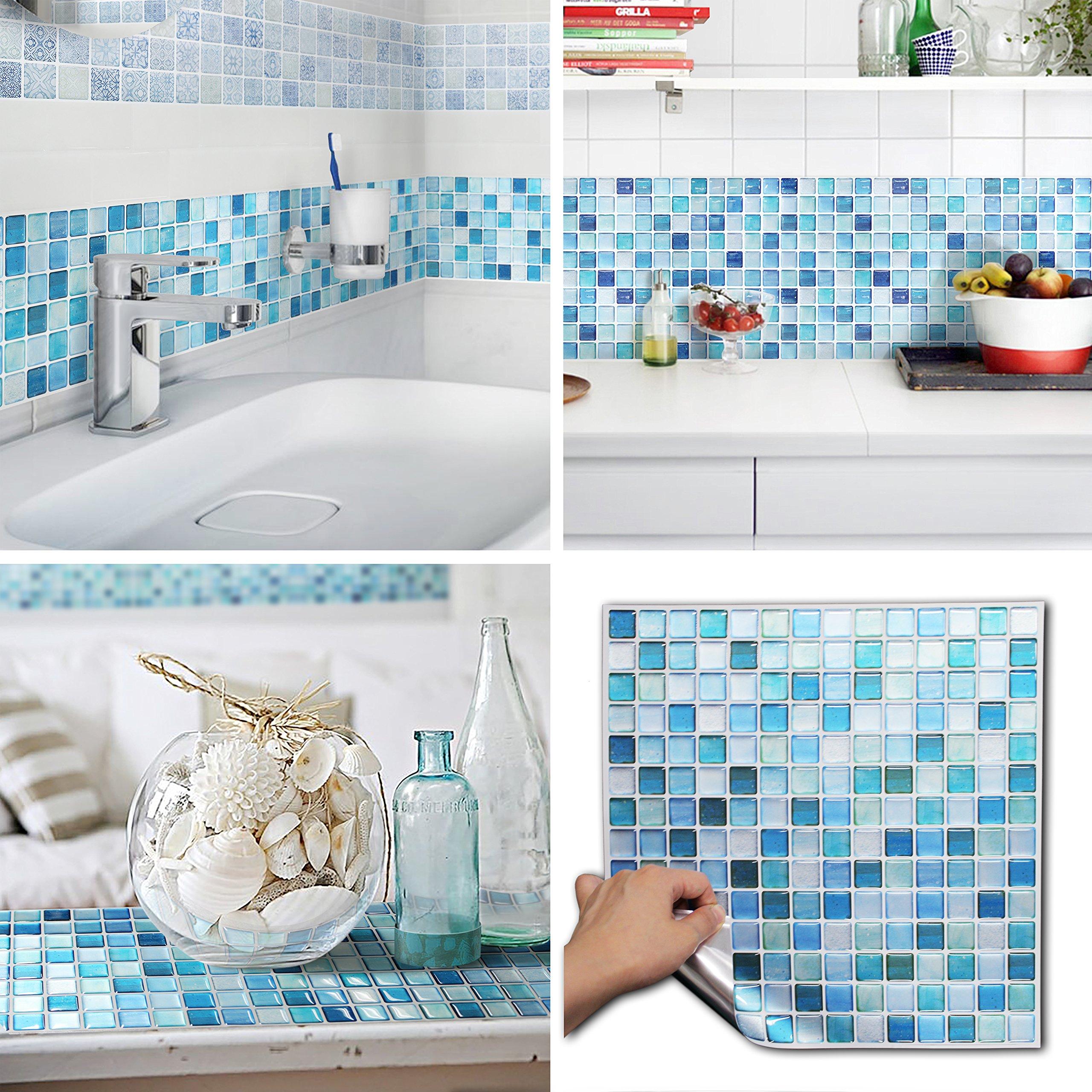 BEAUSTILE Decorative Tile Stickers Peel and Stick Backsplash Fire Retardant Tile Sheet (10pcs) (N.Blue)