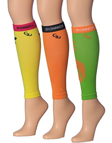 2934b01597a27c Ronnox Unisex 3-Pairs Bright Colored Calf Compression Tube Sleeves (16-20  mmHg