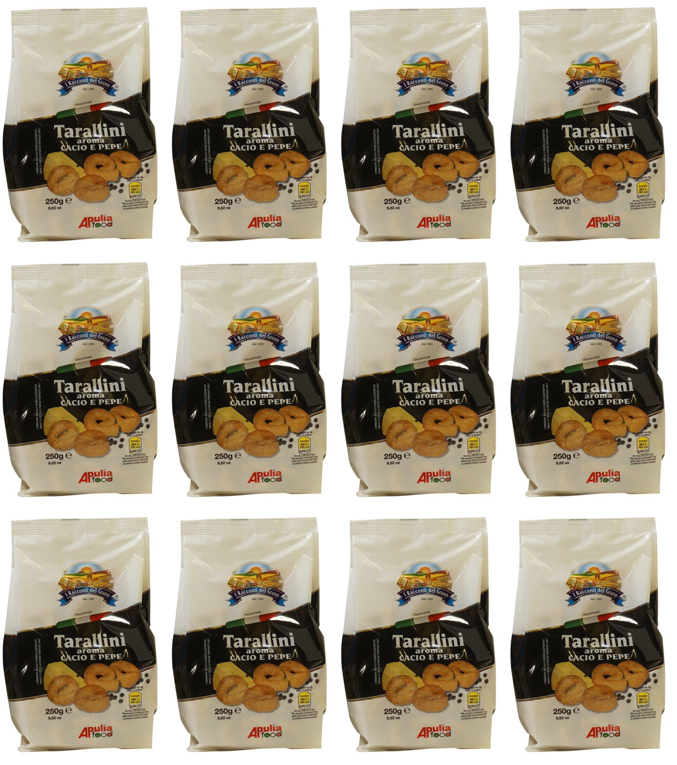 I Racconti del Grano: ''Tarallini Cacio e Pepe '' - Cheese and Pepper Taralli 8.82 Ounce (250gr) Package (Pack of 12) [ Italian Import ]
