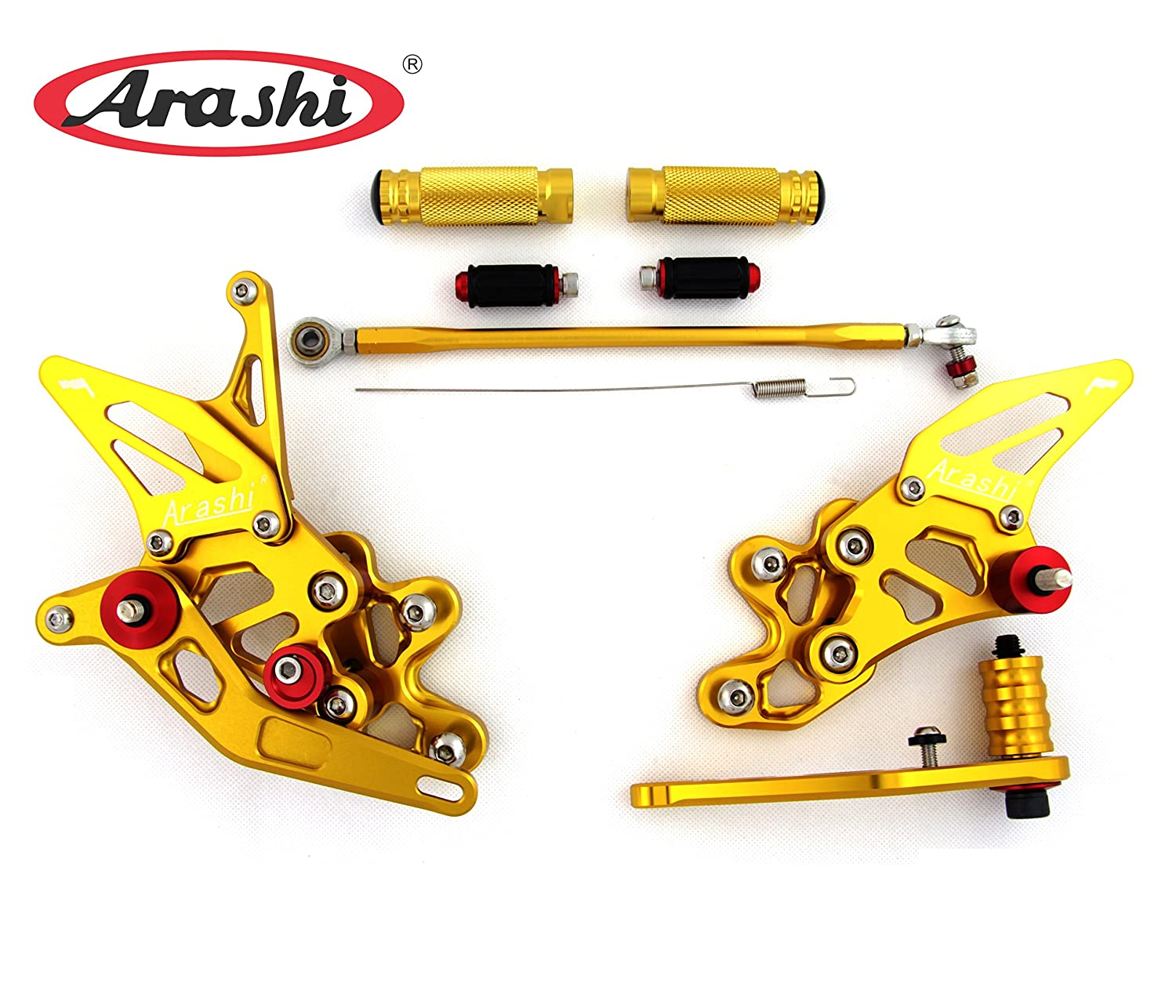Arashi Rearsets Footrests FootPegs for SUZUKI GSXR 600 750 2006-2010 GSXR600 GSXR750 Motorcycle Accessories Adjustable Foot Peg Rest Rear Set 1 Set Gold GSX-R 600 750 2007 2008 2009