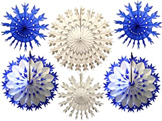 product image for 6-Piece Multi-Colored Tissue Paper Snowflake Party Decoration Kit (Dark Blue and White, 15-22 inches)
