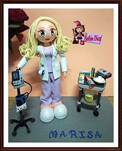 Fofucha Enfermera con tensiómetro y carro auxiliar enfermería 35 cms.
