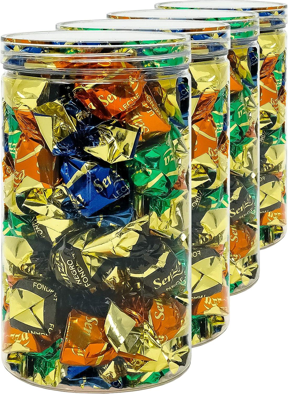 Luxury & Grace Pack 4 Botes de Polietileno Alimentario, 1,3 L (18x10cm). Tarros con Tapa Transparente de Polietileno. Reciclables. 100% Libres de BPA.