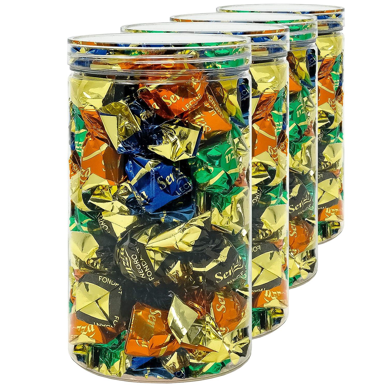 Pack 4 Barattoli di Polietilene Alimentare 18x10cm 1,3 L 100/% Senza BPA. Contenitori con Coperchi in Alluminio a Vite Riciclabile