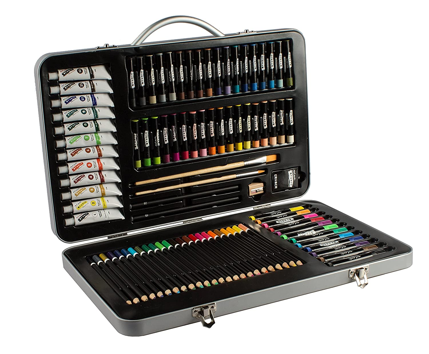 Mont Marte Premium Art Set - 90 Pieces - High Quality Painting and Drawing Set in Elegant Metal Case - Essential Mixed Media Set Ideal as Gift - Perfect for Kids, Beginners, Professionals and Artists MMGS0013