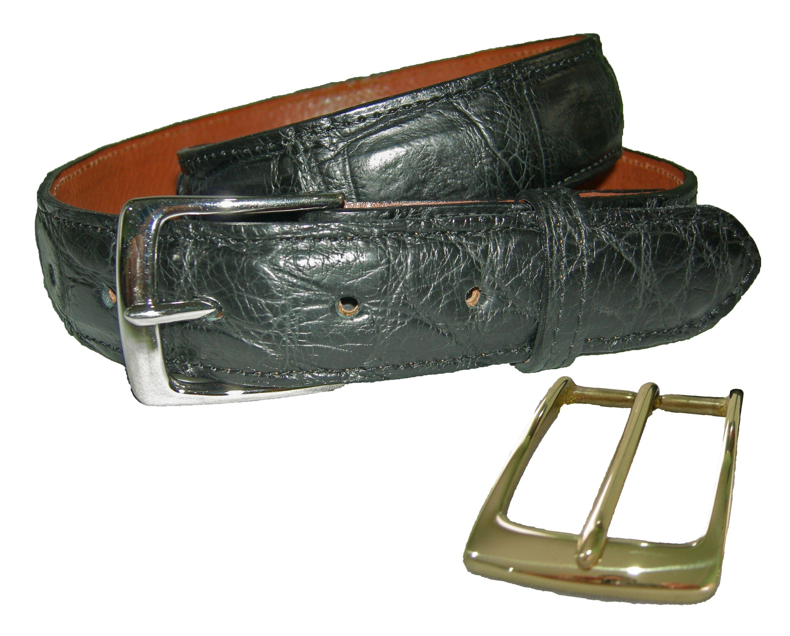 Sultan Genuine Alligator Men's 1-1/4'' Belt - Black Safari (Semi-Gloss) - 36