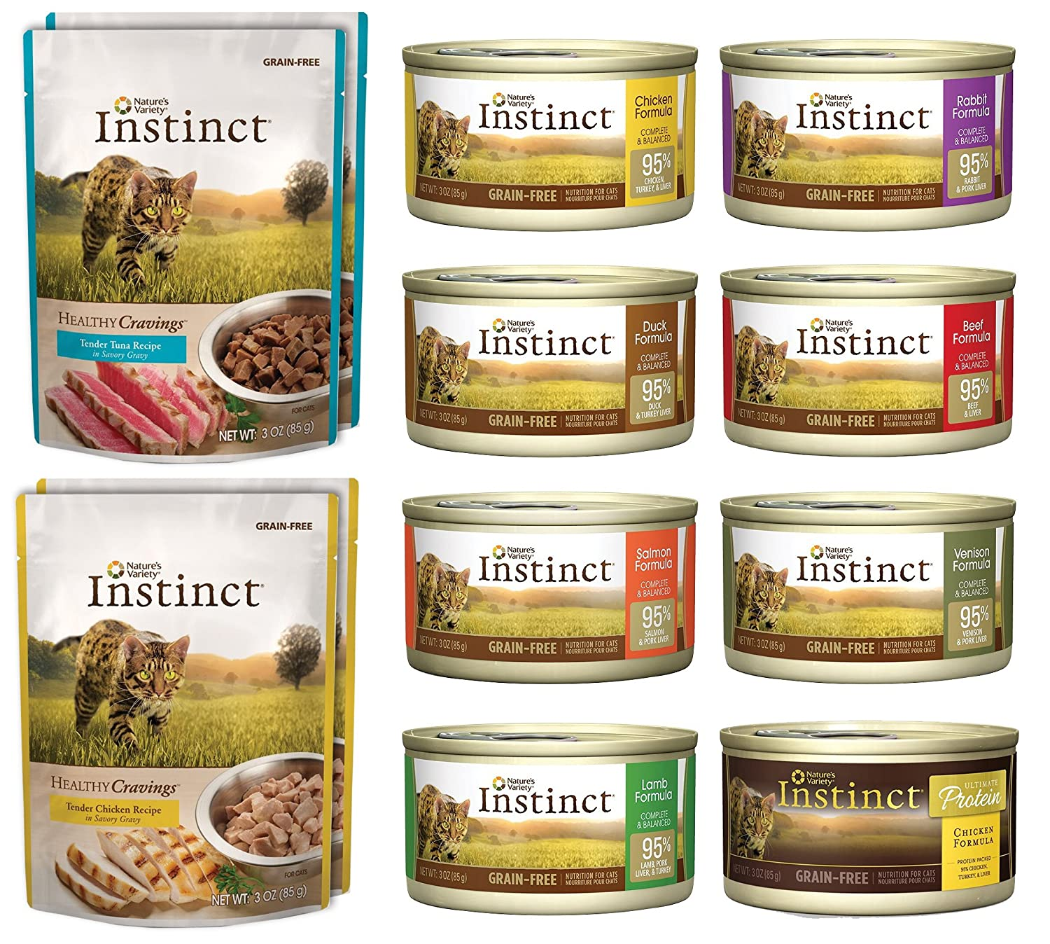 Nature's Variety Instinct 12 Pack Sampler Box - 8 Total Cans (Beef, Duck, Lamb,Chicken, Salmon, Rabbit, Venison, & Chicken Formula Ultimate Protein) - 4 Pouches (Tuna and Chicken) 3 Ounces Each - Click Image to Close