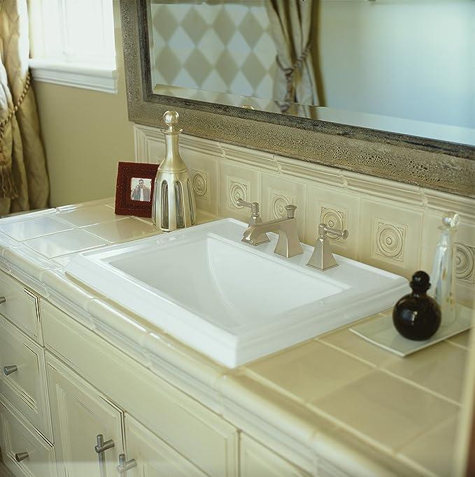 KOHLER K-2241-8-47 Memoirs Self-Rimming Bathroom Sink, Almond ...