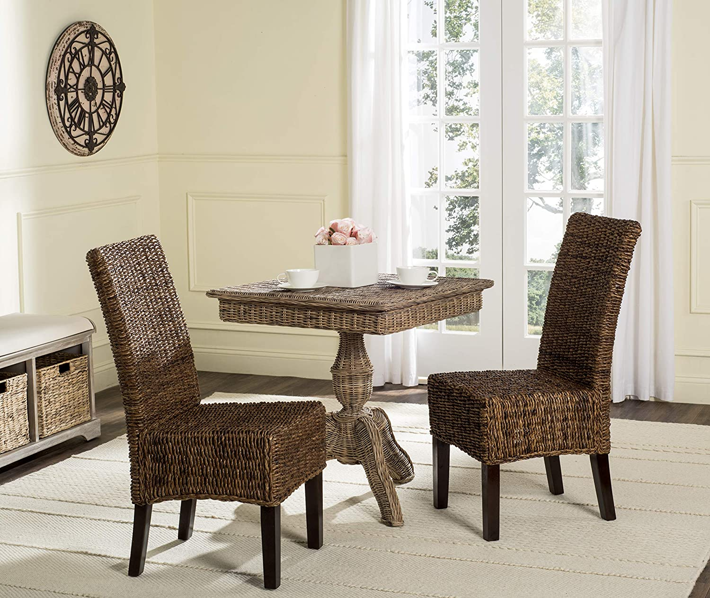 Amazon Com Safavieh Home Collection Avita Brown Wicker 18 Inch Dining Chair Set Of 2 Furniture Decor