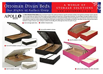 46 DOUBLE LUXURY DAMASK OTTOMAN DIVAN STORAGE BED BROWN Amazon