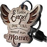 "Schlüsselanhänger Holz Engel Flügel - ""Einen Engel ohne Flügel nennt man Mama!"""