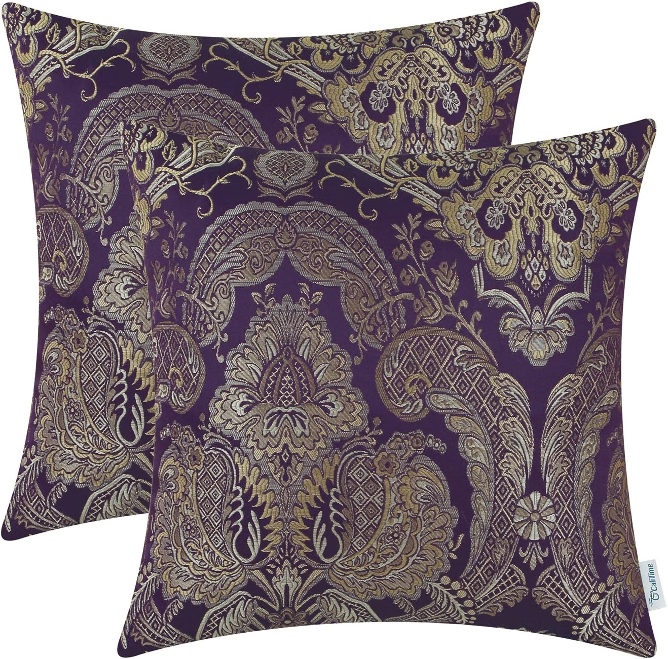 CaliTime Pack of 2 Supersoft Throw Pillow Covers Cases for Couch Sofa Home Decor Vintage Damask Floral 18 X 18 Inches Deep Purple