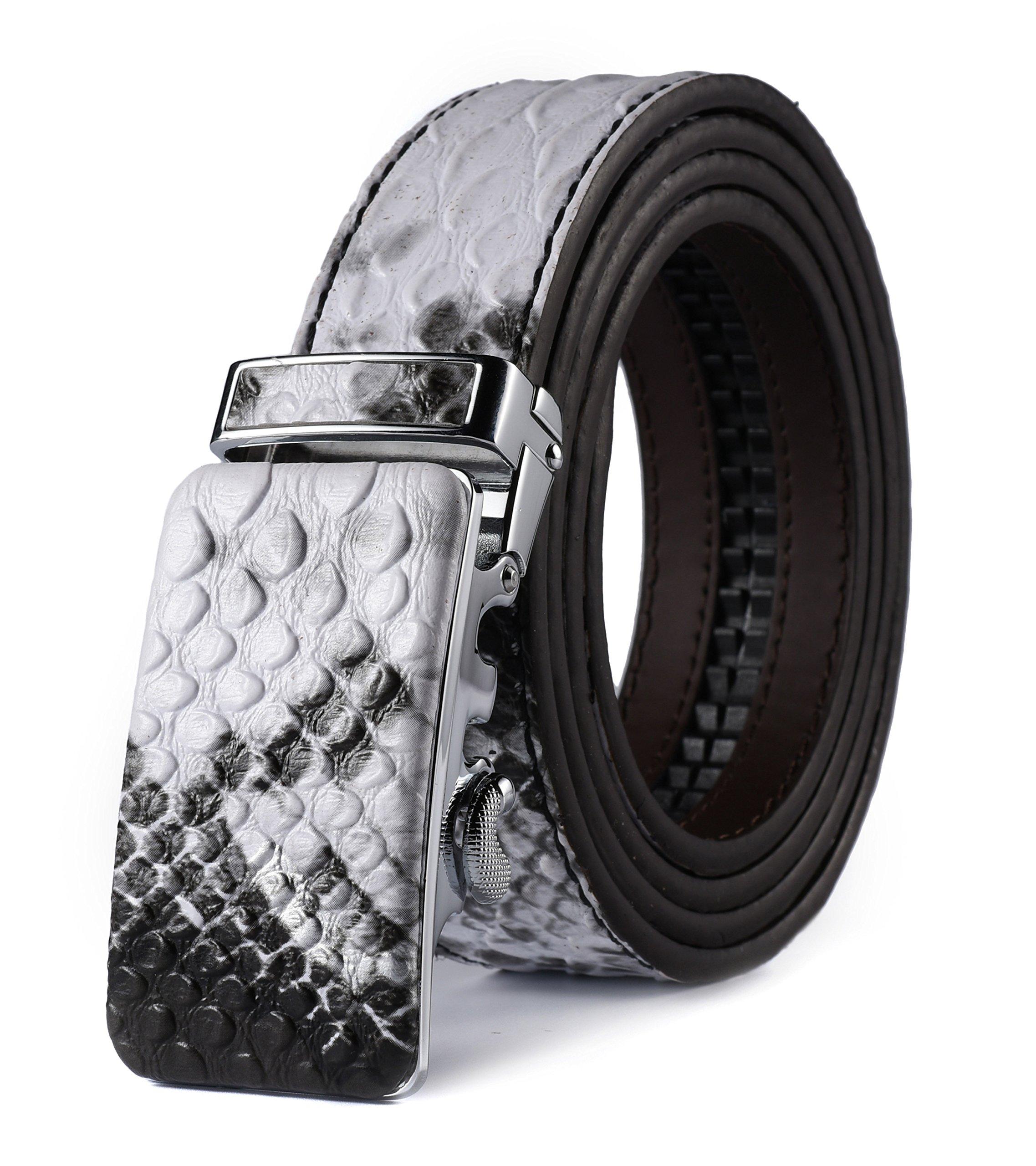 HW Zone Men's Soft Leather Belt Sliding Buckle Ratchet Belt with Automatic Buckle