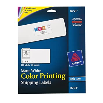 Amazon avery matte white color inkjet printing labels 8253 avery matte white color inkjet printing labels 8253 pronofoot35fo Images