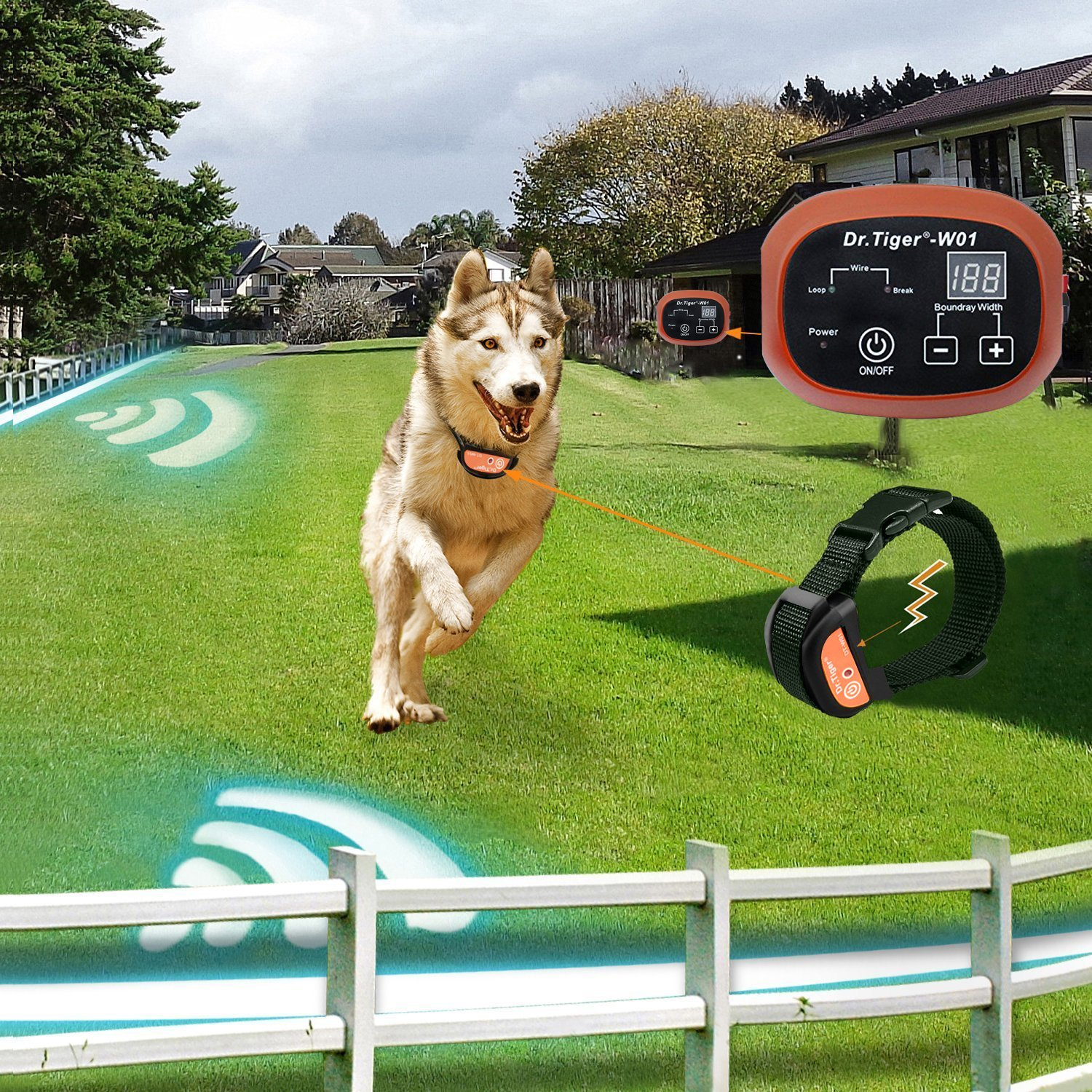 Coffee Dr.Tiger Dr. Tiger 2 Receiver Electric Dog Fence with Rechargeable Shock Collar Wire In-Ground Invisible Dog or Cat Containment Fence System