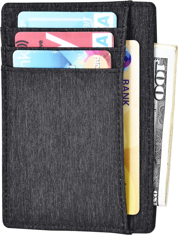 Slim Minimalist Wallet RFID Blocking Front Pocket Wallet Credit Card Holder Minimal Thin Wallet for Mens Crazy Horse Leather