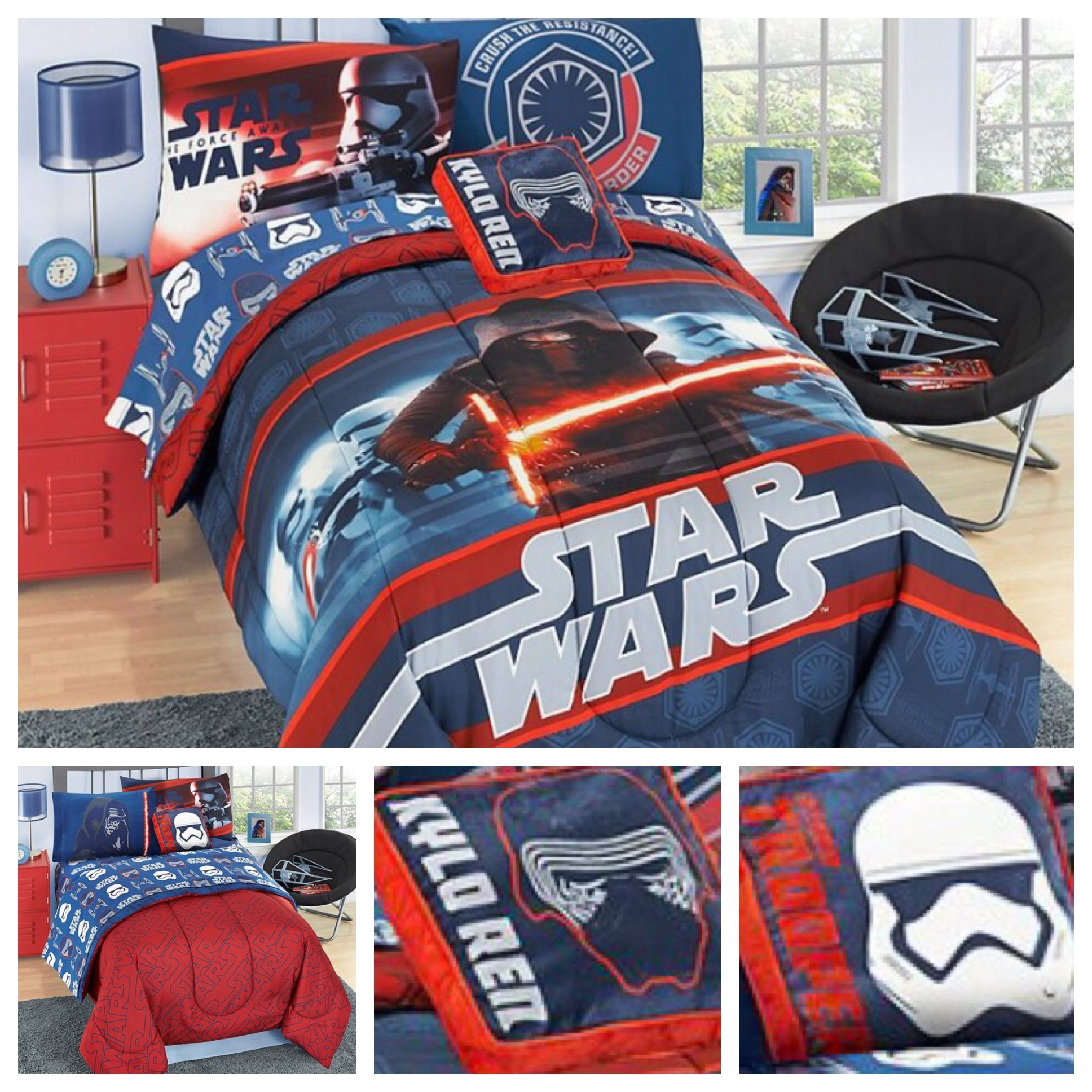 Star Wars Episode 7 Reversible Bedding Comforter Set and Kylo Ren Pillow - Twin