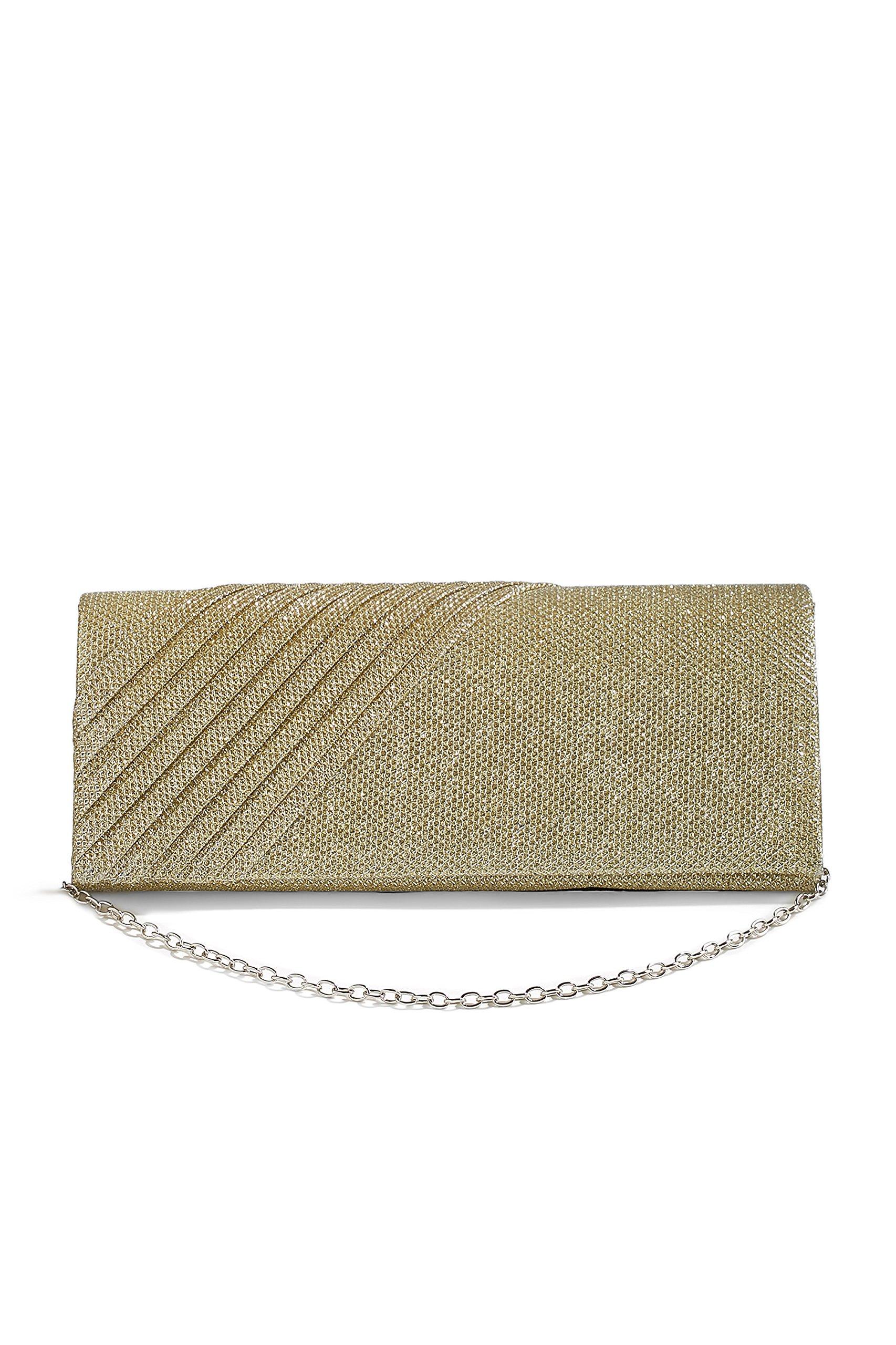 Women Long Clutch Purse Glitter Mesh Evening Bag Foldover Handbag With Chain Strap (beige, gold)