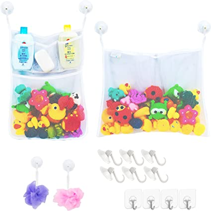Bath Time Tidy Storage Toy Suction Cup Bag Mesh Bathroom Organiser Net R