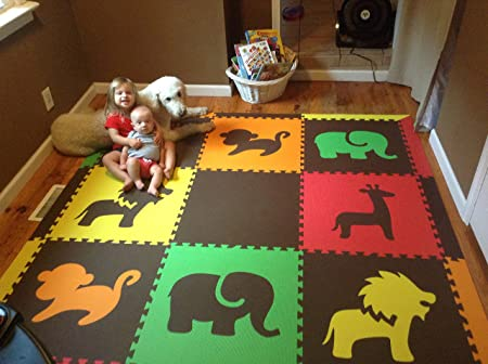 SoftTiles Safari Animals Premium Interlocking Foam Large Children's Play Mat