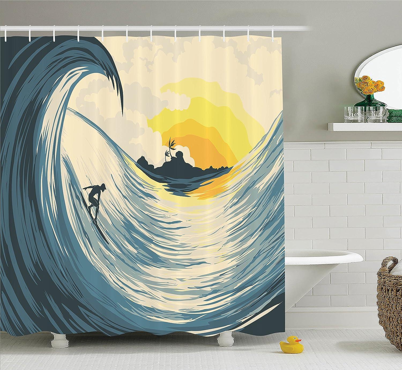 Amazon.com: Ambesonne Ocean Decor Shower Curtain Set, Illustration ...
