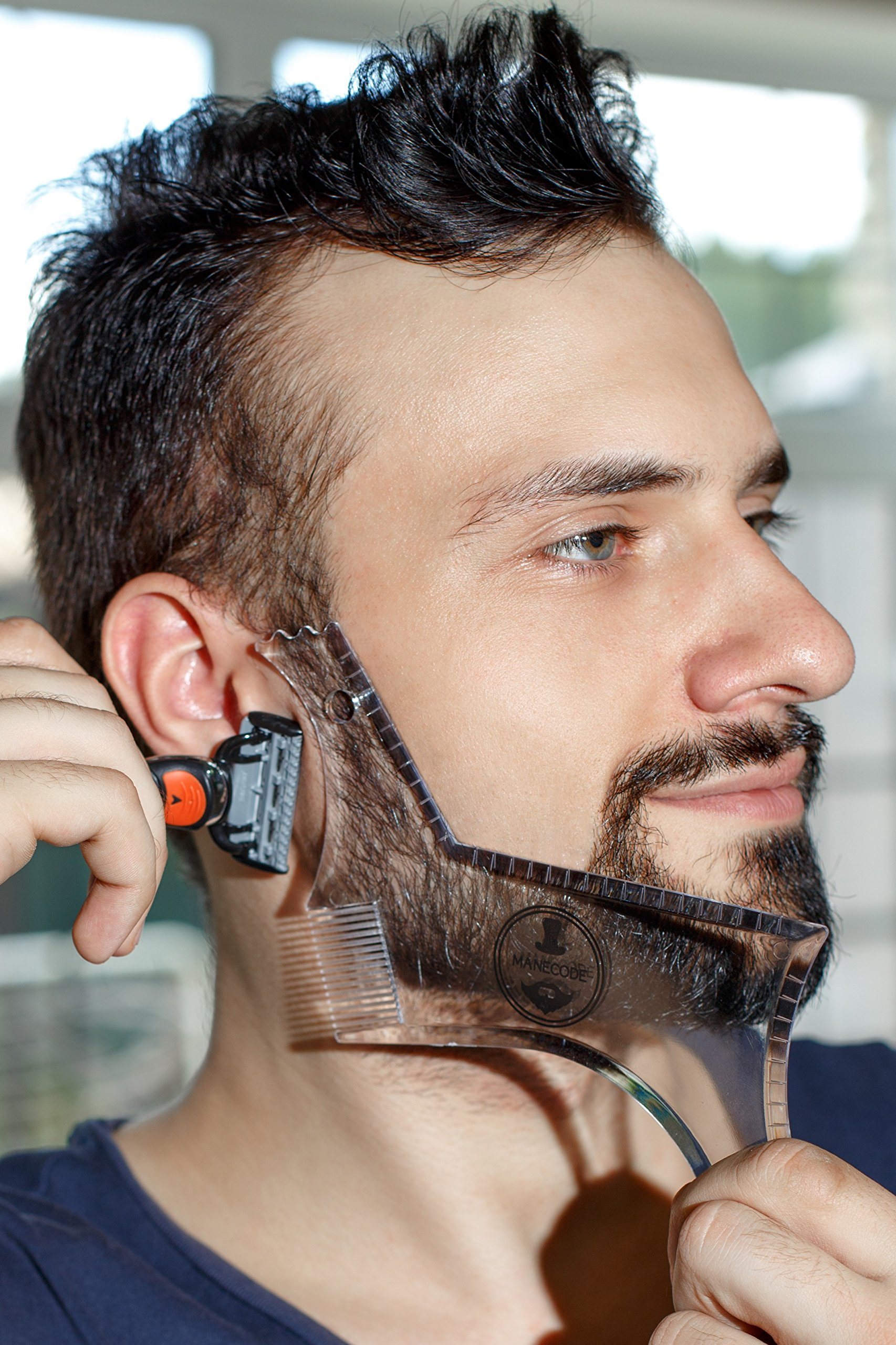 Manecode Beard Guide Shaper Tool - Clear Trimming Template - Shaping Stencil With Built-In Comb