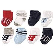 Luvable Friends Baby 8 Pack Newborn Socks, Red/Navy Sneakers, 0-6 Months