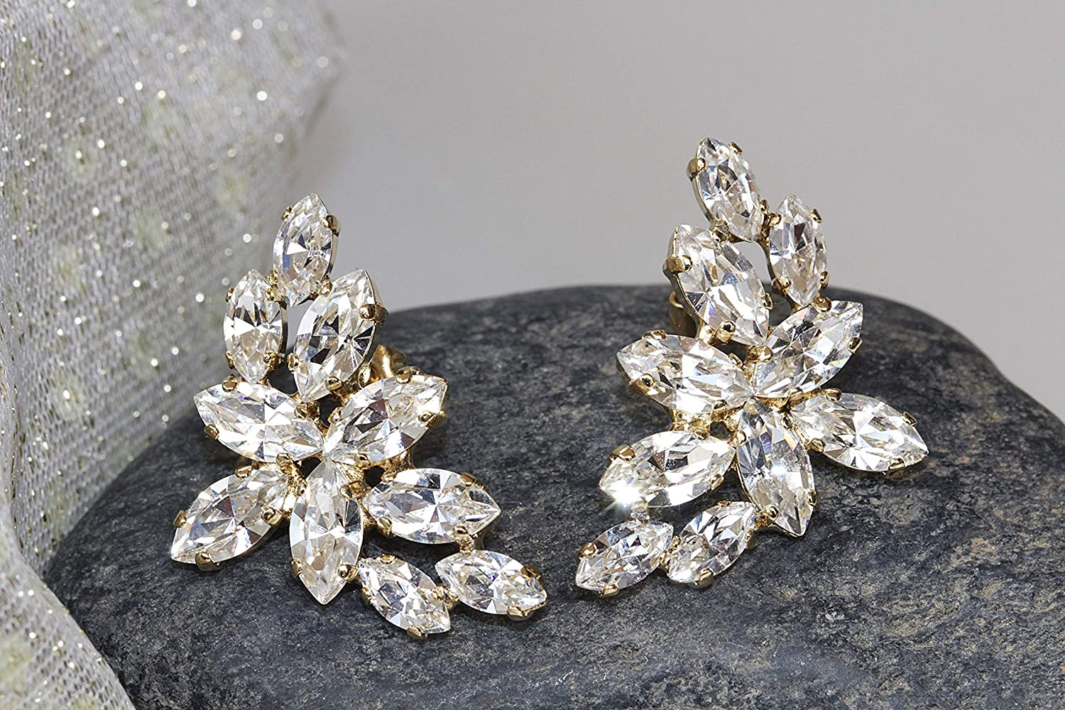 Details about  /CLUSTER 14K WHITE GOLD FINISH 925 STERLING SILVER FANCY WEDDINGS GIFT EARRINGS