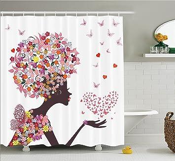 Amazon Com Girls Shower Curtain Butterflies Decor By Ambesonne