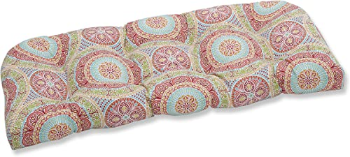Pillow Perfect Outdoor Indoor Delancey Jubilee Tufted Loveseat Cushion, 44 x 19 , Multicolored